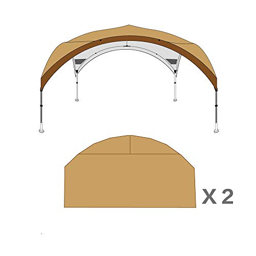 Gazebo WYZQQ Oversized Vier-Seizoen Paviljoen Opvouwbare Tent, Aluminium Lift (3 stappen Verstelbaar) Camping Luifel, Afneembare Voorruit Muur (Optioneel Op 4 Zijden), Afneembare Hangende Tent Khaki + 2 face Without inner tent