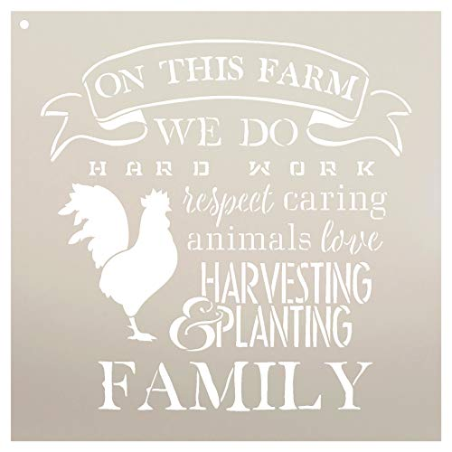 """On This Farm with Chicken Stencil by StudioR12 