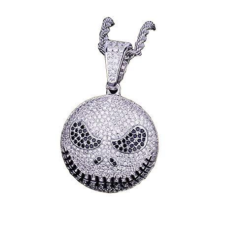 MoCa Hip Hop Punk Emoji Evil Face Iced Out Anhänger Kordelkette Bling Halskette, silber