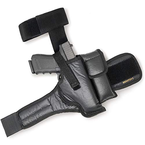 Ankle Gun Holster Concealed Carry - by Houston | Eco Leather | Fits: Glock 26/27 / 33, S&W M&P Shield, Springfield XDS, Most Compacts 9/40 mm | Concealed and Comfortable to use (Right)