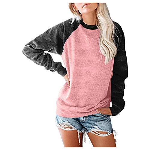 DQANIU Frauen Bluse, Frauen Langarm Nähte Beiläufiger Pullover Top Loose Lining Sweatshirt
