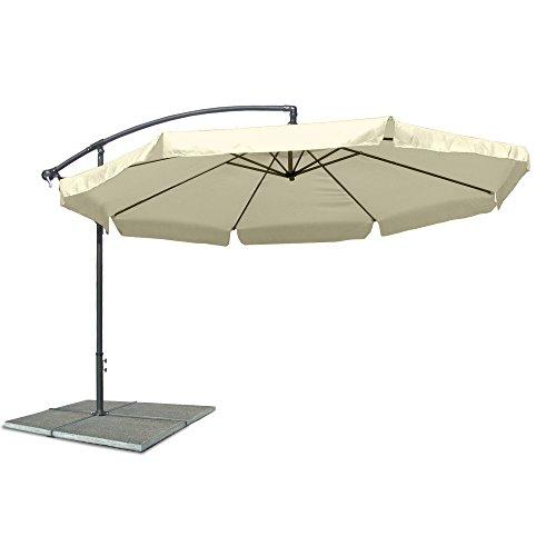 JOM Ampelschirm, Sonnenschirm mit 350 cm Durchmesser in beige, Material Polyester 160G, wasserabweisend, Metallstreben, Neigungswinkel verstellbar, mit Kurbelsystem