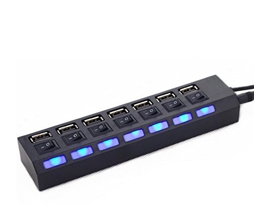 Demarkt USB HUB 7 Port High Speed 7 Ports USB Hub Multifunction 2.0 Hub with 7 Power Switches for PC Laptop Notebook black Black