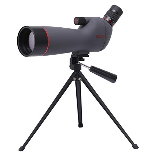 Save %49 Now! SCOKC 20-60x60 Spotting Scope with Tripod, Carrying Bag and Scope Phone Adapter - BAK4...