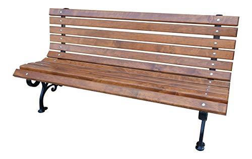 GardeTech Gartenbank mit Rückenlehne | 150cm lang | aus Massivholz und solidem Gusseisen lackiert | Erle | Klassik