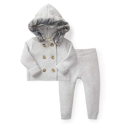 Hope & Henry Layette Grey Two Piece Sweater Set with Faux Fur Hood