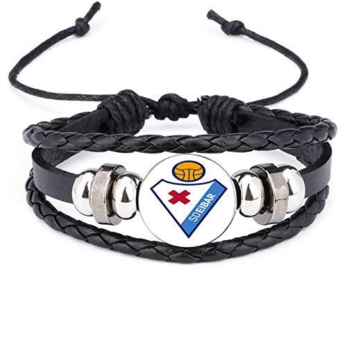 Daawqee Pulseras, Leather Bracelet Football Club Logo Bangle Barcelona Real Madrid Glass Cabochon Team Logo Bracelet For Football Fan Gifts