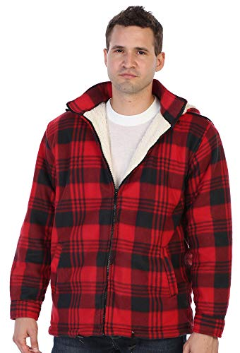 Gioberti Mens Sherpa Lined Flannel Jacket with Removable Hood, Red/Black, L