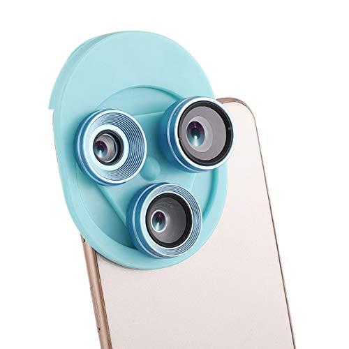 3 En 1 Lentes Para Teléfonos Móviles 20X Macro + 0.62X Lente Gran Angular +198° Fisheye Lente Para Inteligente Android Ipad,Blue