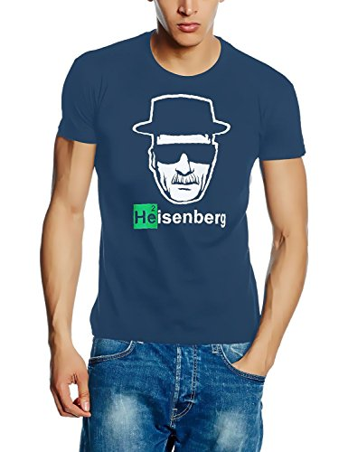 Coole-Fun-T-Shirts Uni Heisenberg Head Logo T-Shirt, Stoneblue, XXL