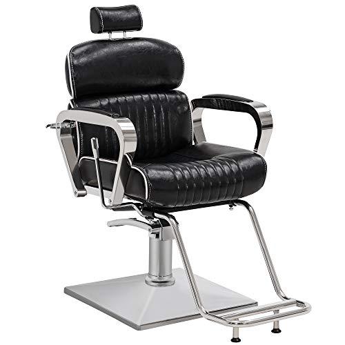BarberPub Vintage Barber Chair Metal Hydraulic Recline Beauty Spa Salon Styling Equipment 3078 (Black)