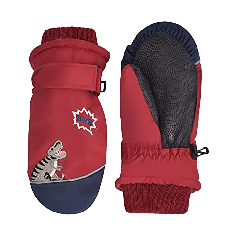 Kids Snow Gloves Waterproof Mittens Toddler Winter Ski Boys Warm Insulated Ages 4 5 6 7 8 Years Old Red Dinosaur, Guantes para Nieve NiñOs, Gifts for Childrens