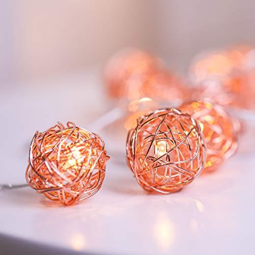 Globe LED Lichterketten, 20er Handgefertigte Rose Gold Kugeln, Batteriebetriebene Lichterketten mit Timer, Dekorative Warme Lichter für Innen und Außen, 3 Meter