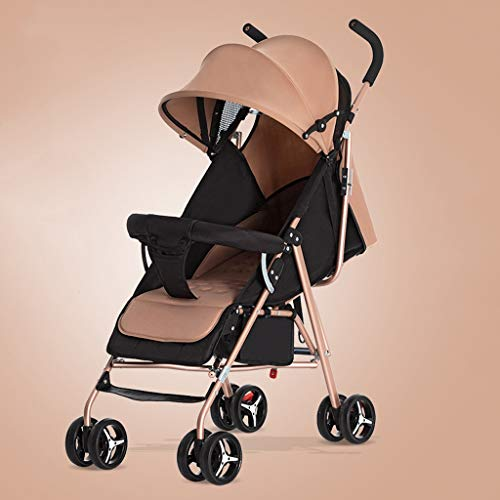 JIAX Baby Stroller Pram Stroller - All Terrain Pushchair Stroller Compact Convertible Strollers Rose Gold Frame Ightweight Travel Stroller – Suitable From Birth (Fresh Grey) (Color : Khaki)
