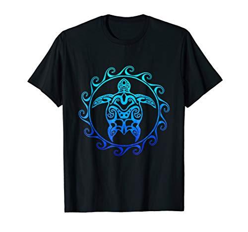 Ocean Blue Tribal Hawaiian Sea Turtle T-shirt