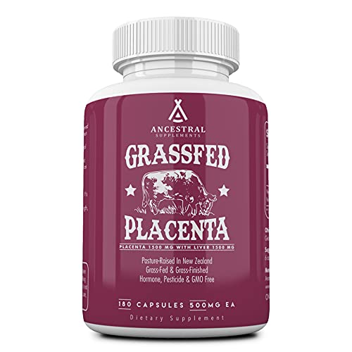 Ancestral Supplements Grass Fed Placenta (with Liver) — After Birth, Nursing, Menopause & Dry Skin Support (180 Capsules)