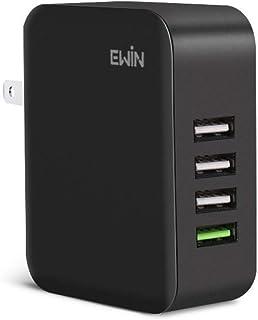 【30W急速充電USB*4 +QC3.0】Ewin usb 充電器 Quick Charge3.0 スマホ 充電器 急速充電 4ポート acアダプター 30W 出力 折り畳み式プラグ iPhone/iPad/Android/タブレット/ゲーム機 その他のUSB機器対応 PSE認証済
