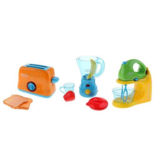 Non brand Sharplace 3 Pezzi Miscelatore/Spremiagrumi /Macchina per Pane Giocattolo di Apparecchi di Simulazione in Plastica Gioco di Ruolo in Miniatura per Bambini