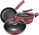 Wok Antiadherente Skillet Caja de utensilios de cocina Freying Sartén con tapa de la tapa con tapa para la cocina de inducción, gas, eléctrico y fogones (Color : Red)