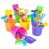 The Dreidel Company Mini Beach Playsets, Play Set Includes 1 Sand Bucket, 1 Shovel, 1 Rake, and 1 Scoop, Birthday Treats for Boys and Girls, Party Favors for Kids and Toddlers (6-Pack)