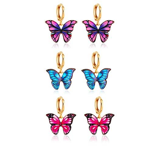 PROJEWE 3 Pares Pendientes Mariposa Mariposa Pendientes de Oreja Conjunto de Pendientes de Aro de...