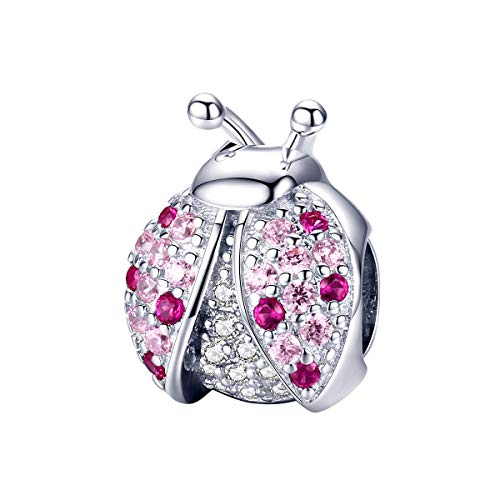 I LOVE CHARM Charm Abalorio Plata de Ley 925 Mariquita de la Suerte, Abalorio de Diseño Compatible con Pulseras Europeas,Regalos para Mujer Niña Mama…