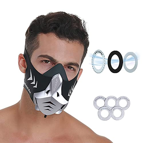 FDBRO Sports Mask 12 Breathing Levels Pro Workout Mask for Training Fitness,Running,Resistance,Cardio,Endurance Mask for Fitness Training Sport Mask (S, Silver Black)