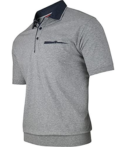 Humy Herren Kurzarm Polo Shirts, Polohemd, Blouson Shirt mit Kragen, Gestreift (M bis 3XL) (2XL, [M4] Grau 100)