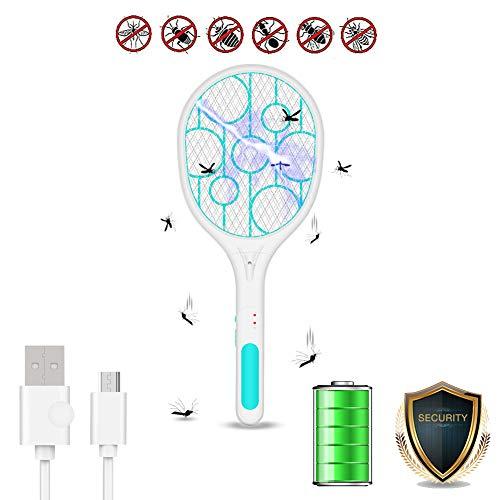 STKASE® Matamoscas Electrico Raqueta Matamoscas Eléctrica Raqueta Mosquitos Recargable por USB, Iluminación...