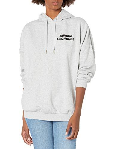 Armani Exchange Hooded Fleece Sudadera con Capucha, Htr Grey, XL para Mujer