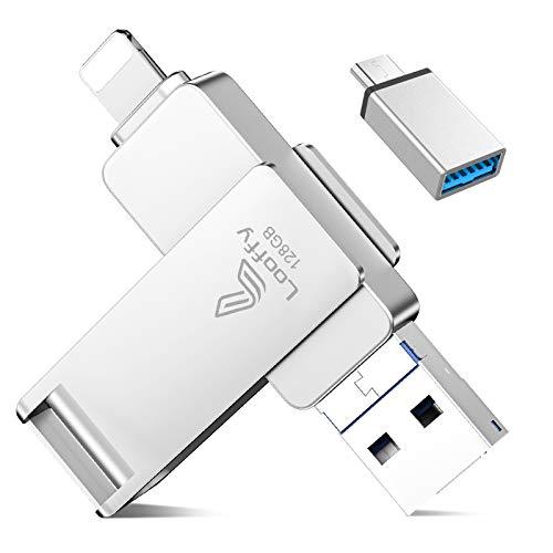Looffy USB Stick 128GB für iPhone Speicherstick Externer Speichererweiterung USB C-Flash-Laufwerk Backup Stick für iOS OTG Android Handy Computer Laptop PC 4 in 1