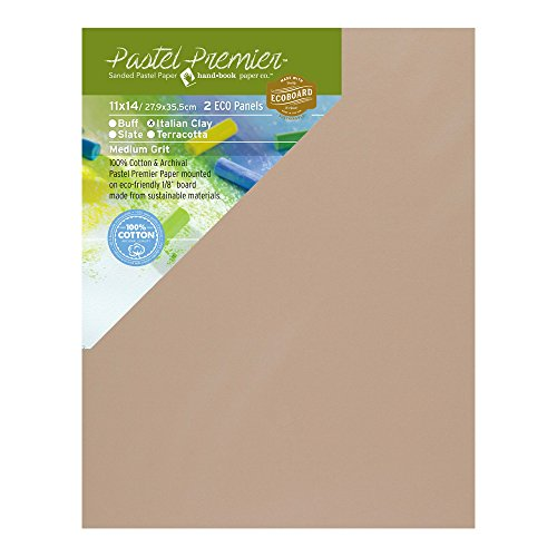 Pastel Premier Sanded Pastel Paper Eco Panel, Medium Grit, 11x14 inches, Italian Clay, 1 Package of 2 Panels