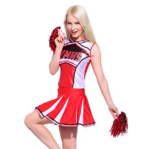 Sexy Cheerleader Uniform Trikot Kleider Cheerleading Cheer Leader Kostüm Schulgirl/Schulmädchen GOGO Fasching Karneval Rot Gr. L Top Rock mit Pompins
