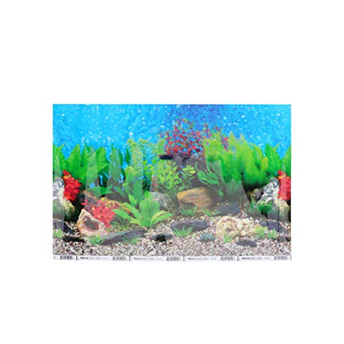 POPETPOP Aquarium Background Fish Tank Decorations Double-Sided Adhesive Wallpaper Underwater World PVC Poster Backdrop Decoration Paper Cling Decals Sticker - 42x30cm