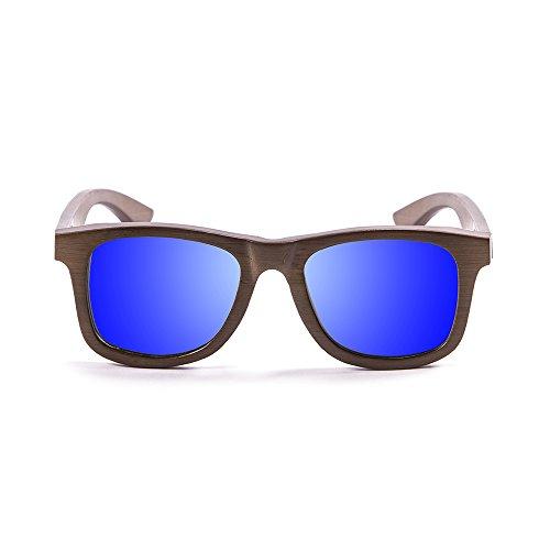 Ocean Sunglasses Wood Victoria - Gafas de Sol polarizadas de Bambú - Montura : Marrón - Lentes : Azul Espejo (53003.0)