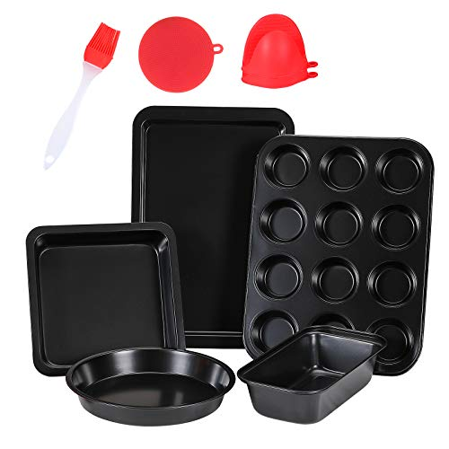 5 Pcs Nonstick Bakeware Set,Carbon Steel Baking Set Include Loaf Pan,Cookie Sheet, Loaf Pan, Square Pan, Round Cake Pan, 12 Cups Muffin Pan,2 Mini Oven Mitts ,1 Round Dish Sponge and 1 Basting Brush