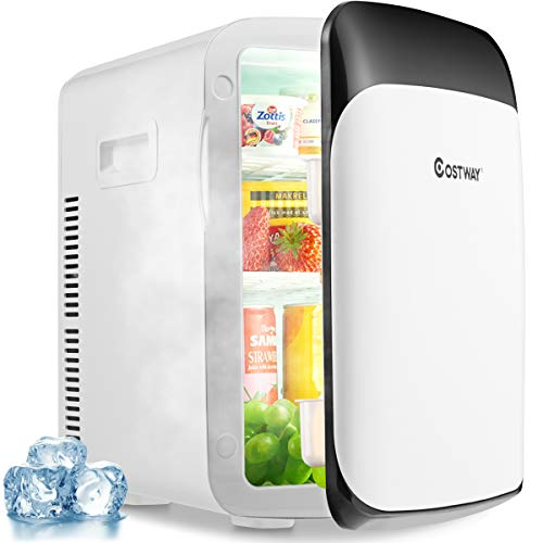 COSTWAY 15L Mini Kühlschrank 2 in 1 Kühl- und Heizfunktion, Kühler Wärmer -3℃~50℃, Tragbarer Kühltruhe Getränkekühler fürs Auto, Haushalt