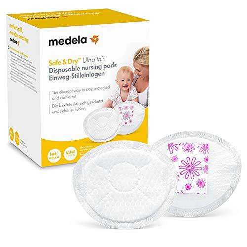 Medela Safe & Dry Ultra Thin Coppette Assorbilatte Ultrasottili e Altamente Assorbenti, Confezione da 60 Coppette per Maternità Confezionate singolarmente
