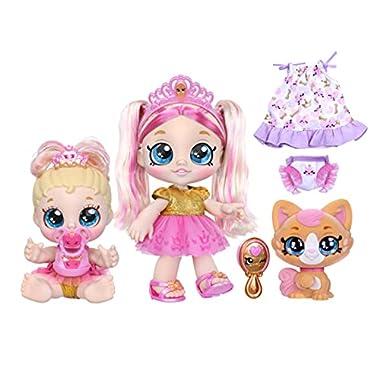Kindi Kids Scented Sisters Pawsome Royal Family – Pre-School 10″ Play Doll: Tiara Sparkles, 6.5″ Baby Kindi: Teenie Tiara, and Kindi Pet: Prince Purrfection