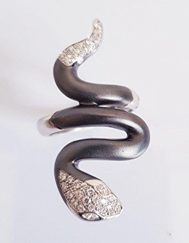 Anello serpente in oro bianco 18kt e brillanti