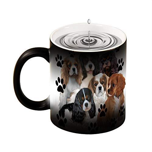 Taza mágica sensible al calor Cavalier Spaniel Grupo familiar divertido cambio de color taza de café taza de 11 oz