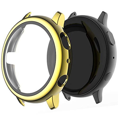 Miimall, custodia protettiva per Samsung Galaxy Watch Active 2, 40 mm, con pellicola protettiva in vetro temperato, molto resistente, antigraffio, protezione per Galaxy Watch Active 2, colore oro rosa