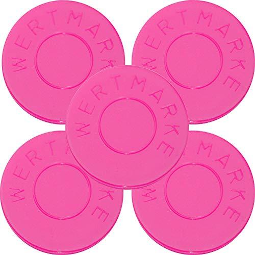 """100 Pfandmarken Wertmarken Durchmesser 30mm Farbe Neon-Pink mit beidseitiger Aufschrift""""Wertmarke"""" - Eventmarken Chips Jeton Token"""