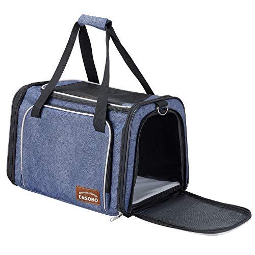 ENSOBO Transporttasche Katze, Faltbare Hundetragetasche Katzentragetasche, Tragetasche für Haustiere, Reiseträger mit weicher Matratze für den Transport mit Zug/Auto/Flugzeug