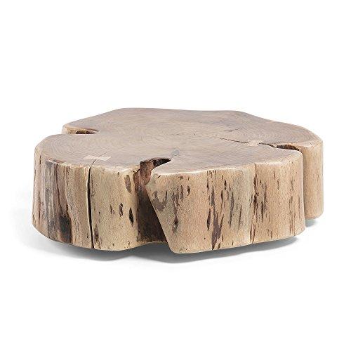 Kave Home - Table Basse Essi à roulettes en Acacia Massif Ø 65 x 60 cm