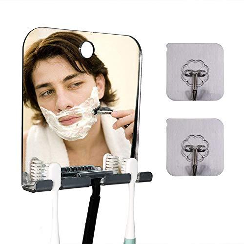 Fogless Mirror for Shower, Fogless Shower Mirror for Shaving, Fogless Shower Mirror with Razor Holder & 2 Adhesive Hooks Lightweight Frameless Fogless Shower Mirror for Men