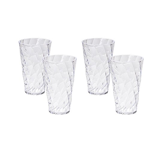 Omada Design Wassergläser Set, Packung mit 4 farbigen Kunststoffgläsern aus transparentem Acryl (Bpa Free), 50cl Kapazität, Made in Italy, Verarbeitung mit Diamanteffekt, Diamond Linie, Transparent