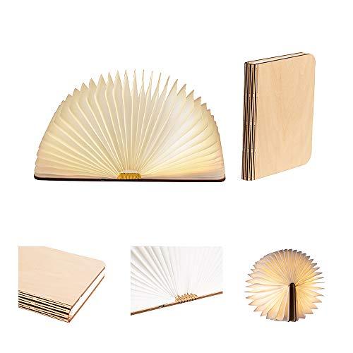 LEDR® - Buchlampe Book Lamp LED Buch Lampe Nachttischlampe Nachtlicht dekoratives Licht - USB Kabel enthalten - Wasserdicht - 100% DuPont™ Tyvek® Recyclingpapier (Ahornfarben: 21 x 17 cm)