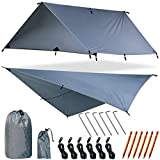 YZtree Fly Tent Tarp Hammock Fly Tent Lightweight Backpacking Camping Shelter 10.5 x10ft Include More Accessories for Various Weather Conditions Fly Tent Tarp(Gray)