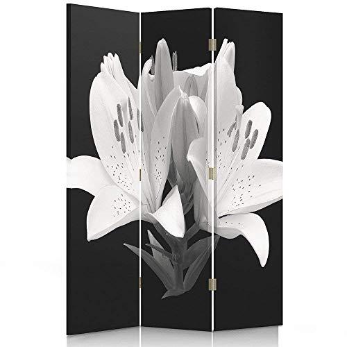 Feeby Frames. Roomdivider, bedrukt op canvas, doek, wandscherm, decoratieve scheidingswand, bloemen, lelies, macro en wit 110 x 180-maat-1